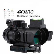 4X32 Prismatic Rifle Scope with Fiber Optic Sight Tri-illuminated BDC Recticle