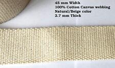 45mm tela di canapa naturale Rinforzato Cotone pesante Bretella Nastro tessuto