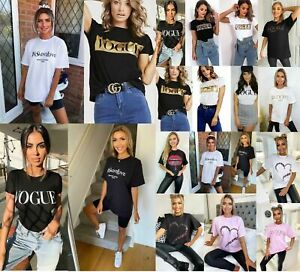 Ladies Women's Short Sleeve Slogan Printed Summer Tee T-shirts Tops New UK