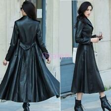 Women Single Breasted Full Length Leather Trench Coat Belt Lace Up Slim Jacket