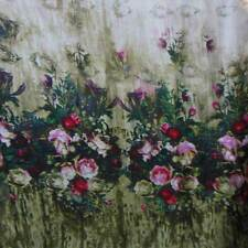 100% PURE SILK CHIFFON FABRIC MATERIAL VINTAGE ROSES PRINT BY THE YARD +BUTTON