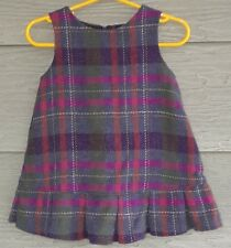 Gymboree Fall Forest Girls 12 18 Gray Fuchsia PLAID Wool Blend JUMPER Dress