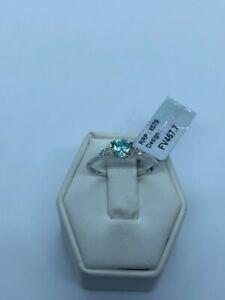 Paraiba Tourmaline & Diamond 18K White Gold Ring 0.64cts Size N - O / 7