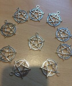 10 X Large Silver Pentagrams Charms 28mm Pagan Wiccan Charms
