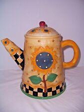 Cookie Jar 1998 Sakura Sunflower Coffee Pot Debbie Munn Mrkd Lbld