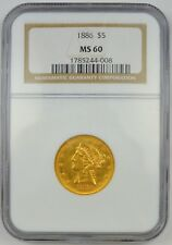 1886 US $5 Gold Coronet Head Eagle Type 2 With Motto NGC MS60