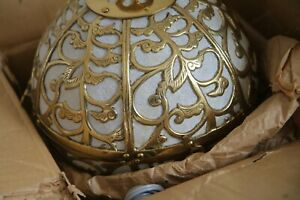 Vintage Brass Japanese Karakusa Globe Lantern Light Lamp Orb Hanging Swag