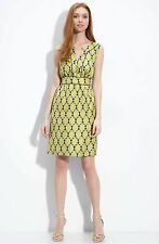KATE SPADE sz 2 silk MARIE dress SLEEVELESS OLIVE green TILES XS DAMASK PRINT