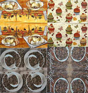 COFFE CUP CUPCAKE PAPER TABLE NAPKINS FOR CRAFT VINTAGE DECOUPAGE TEA PARTIES