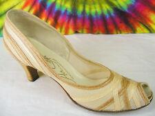 7-7.5-8 vtg 30s-40s tan & ivory Air Step summer mesh peep-toe heels pumps shoes