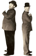 LAUREL AND HARDY LIFE-SIZE ON 2 SEPERATE QUALITY CANVAS APPROX 6X2 FT
