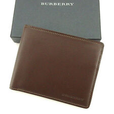 Burberry Wallet Purse Bifold Logo Brown Mens Authentic Used T1670