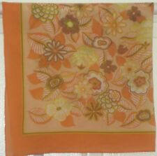 "TERRIART Peach, Yellow, Taupe Flowers Sheer 25"" Square Scarf-Vintage"