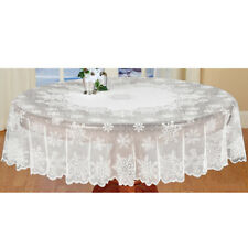 Christmas Tablecloth White Vintage Lace Round Table Cover Topper Wedding 70inch