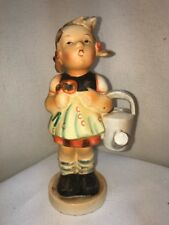 Vtg Little Girl With Watering Can Flowers Hummel Like Face Dutch Dress Figurine