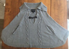 Womens Gray Cable Knit PONCHO CAPE SHAWL by SANCTUARY Toggle Horn Button SMALL