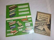 Vtg Hohner Harmonica Melodica Advertisement Brochure & Instruction Booklet