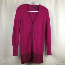 MODA International Womens Pink Cardigan Sweater V Neck Rabbit Hair Buttons Sz M