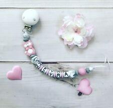 Schnullerkette Schnullerband mit Namen Wunschname Silikon Beißkette rosa grau