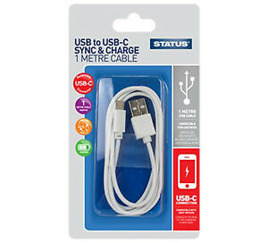 STATUS USB TO USB-C SYNCH & CHARGE CABLE 1 METRE DATA CHARGING WHITE FAST