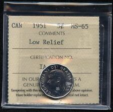 1951 Canada 5 Cent (Low Relief) Coin Graded ICCS MS65 Certification # IA 665