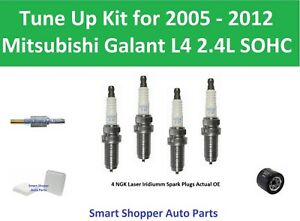Tune Up Kit for 2005-2012 Mitsubishi Galant L4 Air Oil Filter Spark Plug, PCV Va