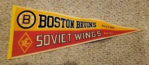 Vintage 1970s jan 9th 1978 Original Full Size BOSTON BRUINS SOVIET WINGS PENNANT