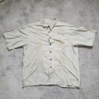 Reyn Spooner Tan Embroidered Floral Hawaiian Camp Shirt Rayon Cotton Mens XL