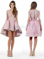 Short Lace Formal Party Evening Cocktail Ball Bridesmaid Pink Prom Gown Dress