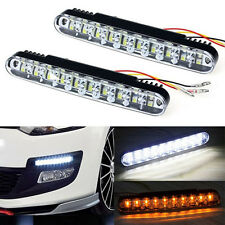 2X 30 LED Car Auto Daytime Running Lamp DRL Light Fog With Turn Signal Indicator