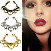 Fad Fake Septum Nose Rings Faux Piercing Nose Hoop Nose Studs Body Jewelry SP