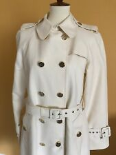 Tory Burch Classic Double Breasted Cotton Trench Coat Ivory Size 10