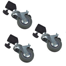 3 Wheel Set w/ Brakes & Adapter Photo Studio Light Stand 75mm fits 22mm Legs