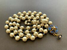 Sign Miriam Haskell Huge Baroque Pearls Blue Rhinestone Flower Necklace Jewelry