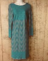 A Pea in the Pod Taylor Maternity Dress Large MSRP $120 Zip Back LS Turquoise