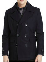 New KENNETH COLE NEW YORK Men's Wool Pea Coat with Bib, NWT【XL】【$250】 *LAST ONE*