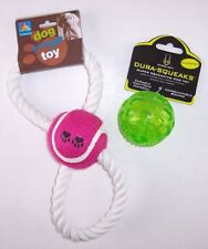 NEW Lot of 2 Dog Throwing Ball Toys (1 Rope Toy, 1 with Super Squeaker)