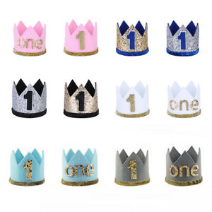 Baby Boy Girl First 1st Birthday Party Crown Hat Headband Cake Smash Accessory