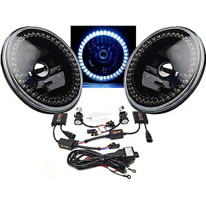 "7"" HID White LED Halo Ring Angel Eyes Black Headlight 6K Light Lamp Bulbs Pair"
