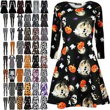 Womens Ladies Halloween Costume Skull Smock Web Spider Flared Mini Swing Dress