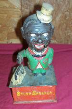 Old Stump Speaker Cast Iron Mechanical Bank Coin Piggy Vintage Negro Black Money