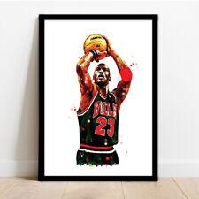 More details for basketball legend michael jordan framed art illustration print poster.