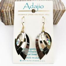 Adajio Earrings Three Stacked Open Teardrop Metallic Silver Gold Hematite 7850
