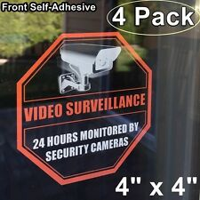 4 Home Security DVR Camera Video Surveillance Warning Clear Vinyl Sticker Decal