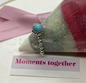 Pandora December Blue Turquoise Birthstone Ring Size 54, 190854TQ Authentic Ale
