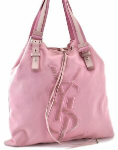 Authentic YVES SAINT LAURENT KAHARA Tote Hand Bag Canvas Leather Pink C9208