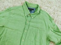 Banana Republic Slim Fit Linen Cotton Button Down Shirt Men Medium Lime Green