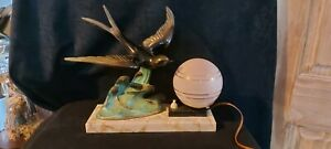 French Antique Bronze Patinated  Art Deco Desk - bedside - Table lamp