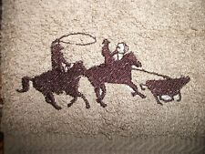 Team Ropers Design, Embroidered Hand Towel, Tan Color, 100% Cotton