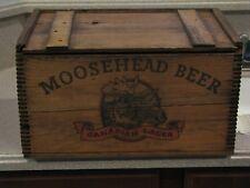 VINTAGE MOOSEHEAD BEER WOODERN DOVETAILED WOODCRATE/BOX WITH ORIG. MOOSENEAD BOX